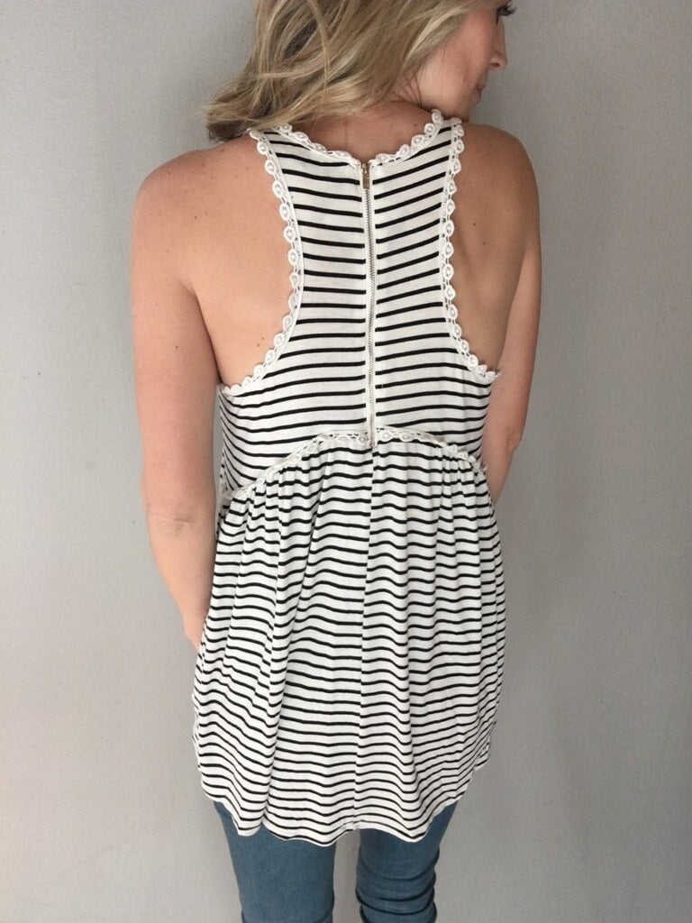 Rise Above Babydoll Tank (Striped)