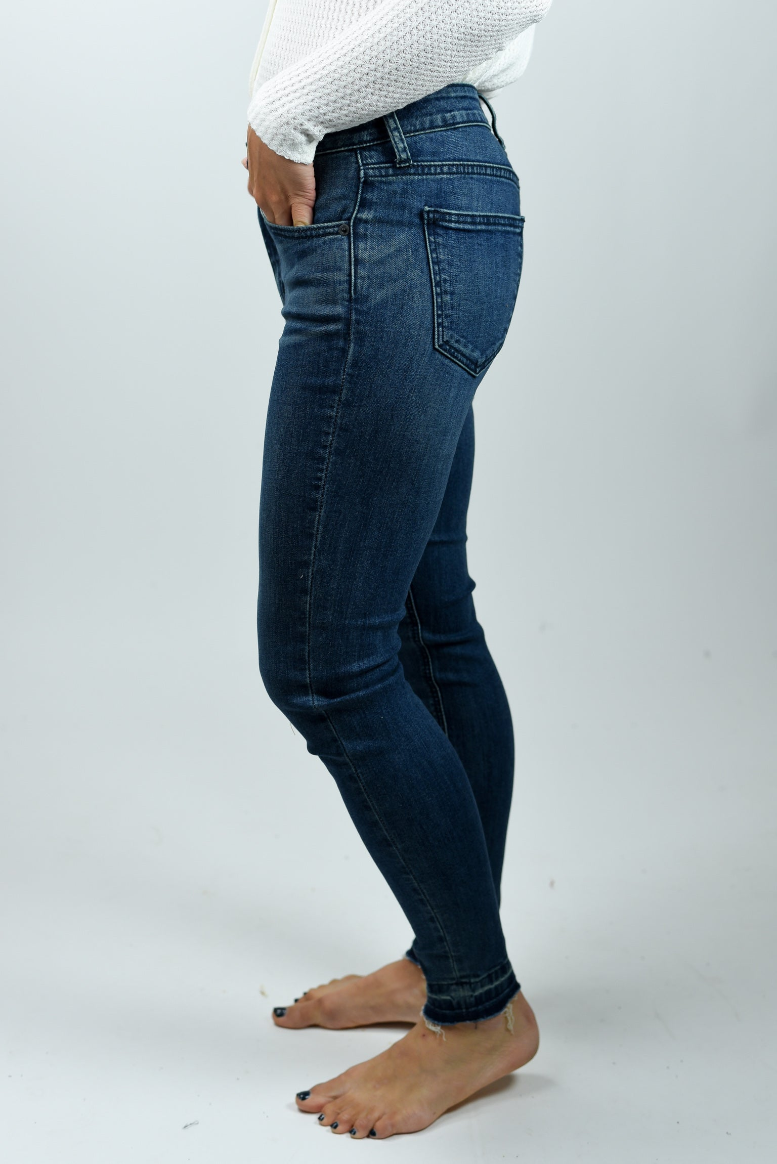 That's All I Need Released Hem Dark Wash Skinny Jean