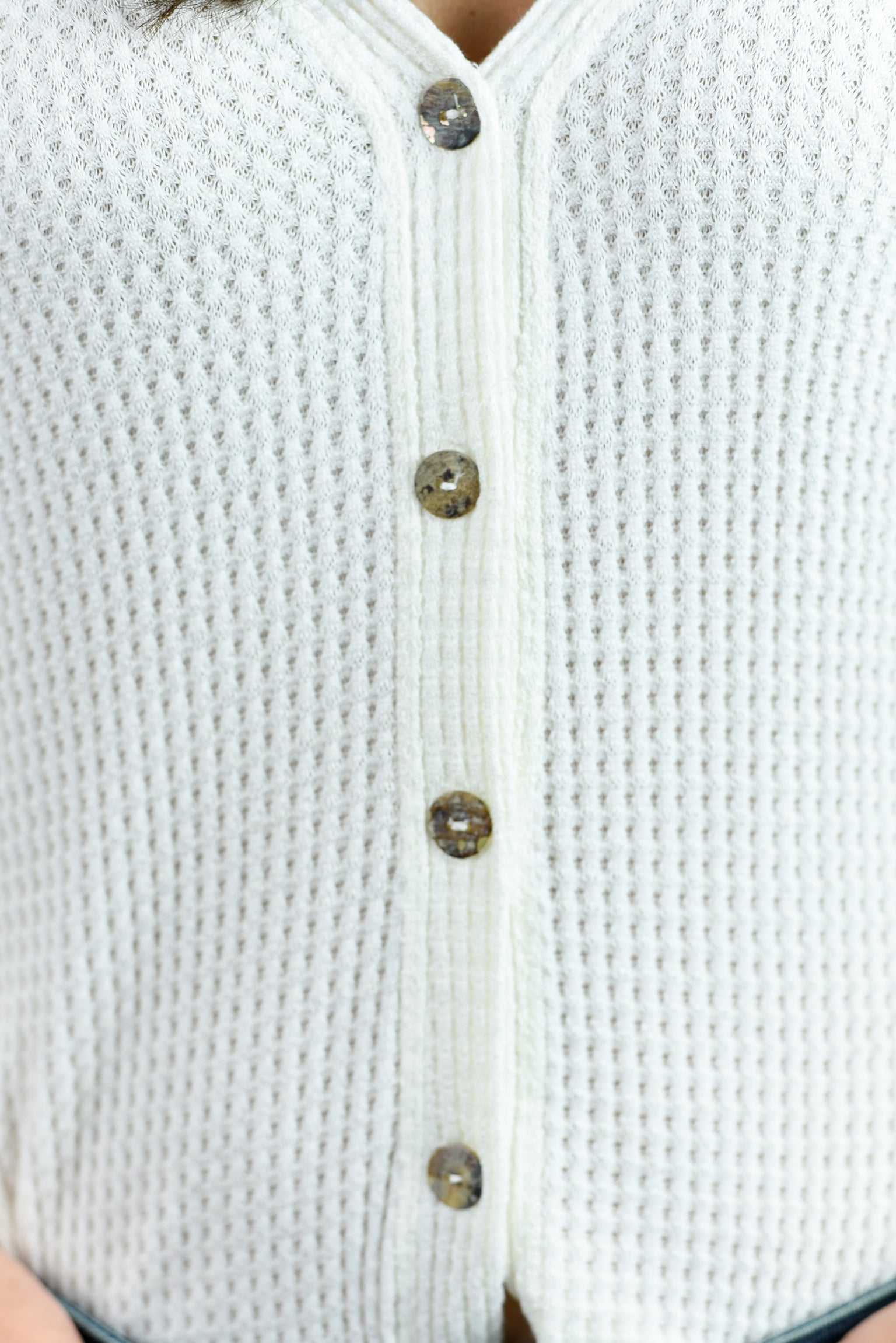 In My Place Waffle Button Down Top - Ivory