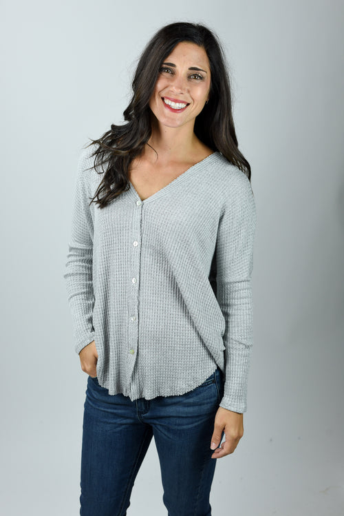 Staying Up Late Grey Waffle Raw Hem Button Down Long Sleeve