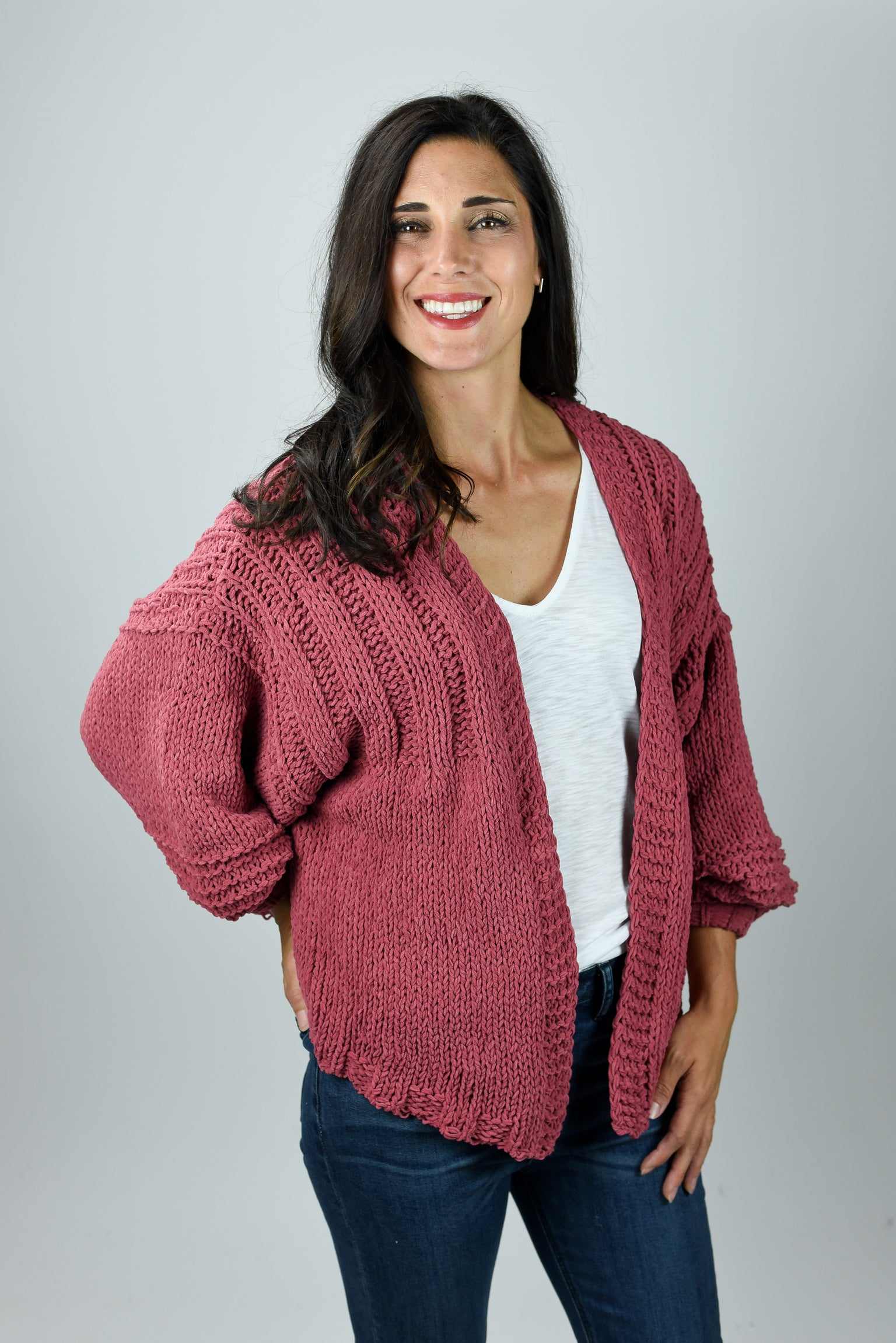 Current Obsession Marsala Chenille Bubble Sleeve Cardigan