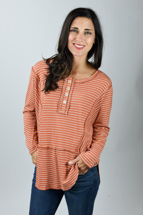 Bring Your Best Rust Stripe Long Sleeve Top