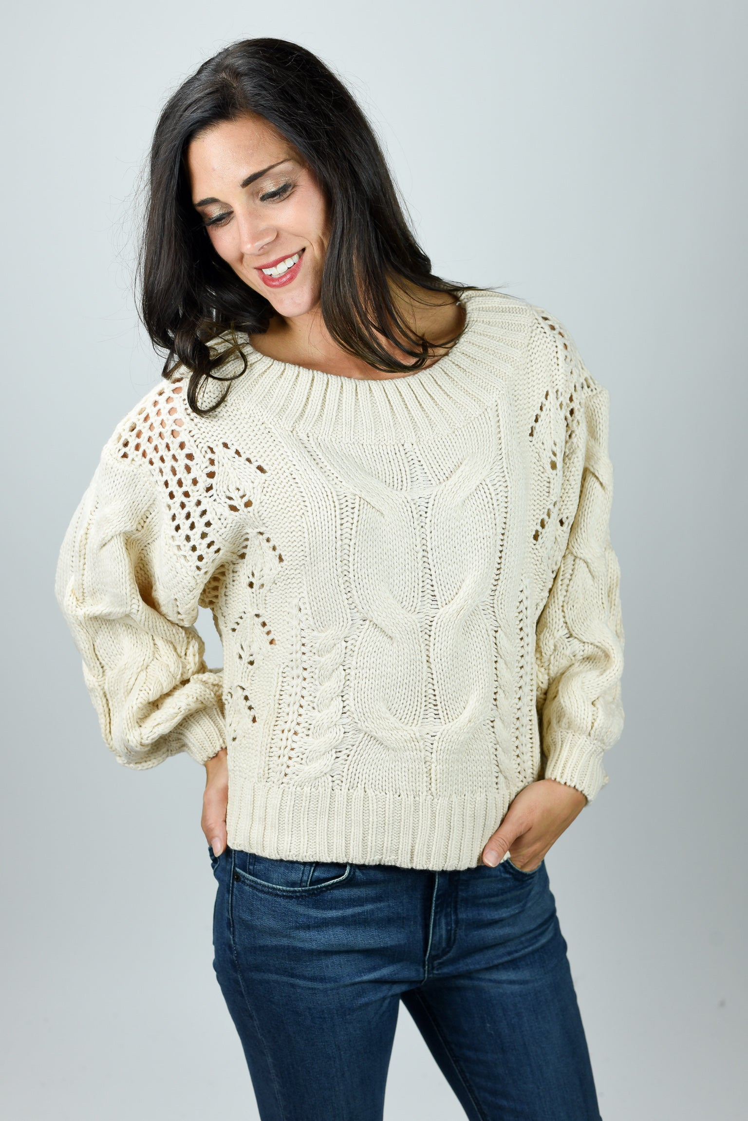 Limitless Possibilities Cream Cable Sweater