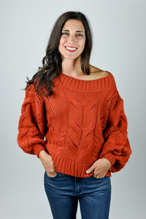 Limitless Possibilities Rust Cable Sweater