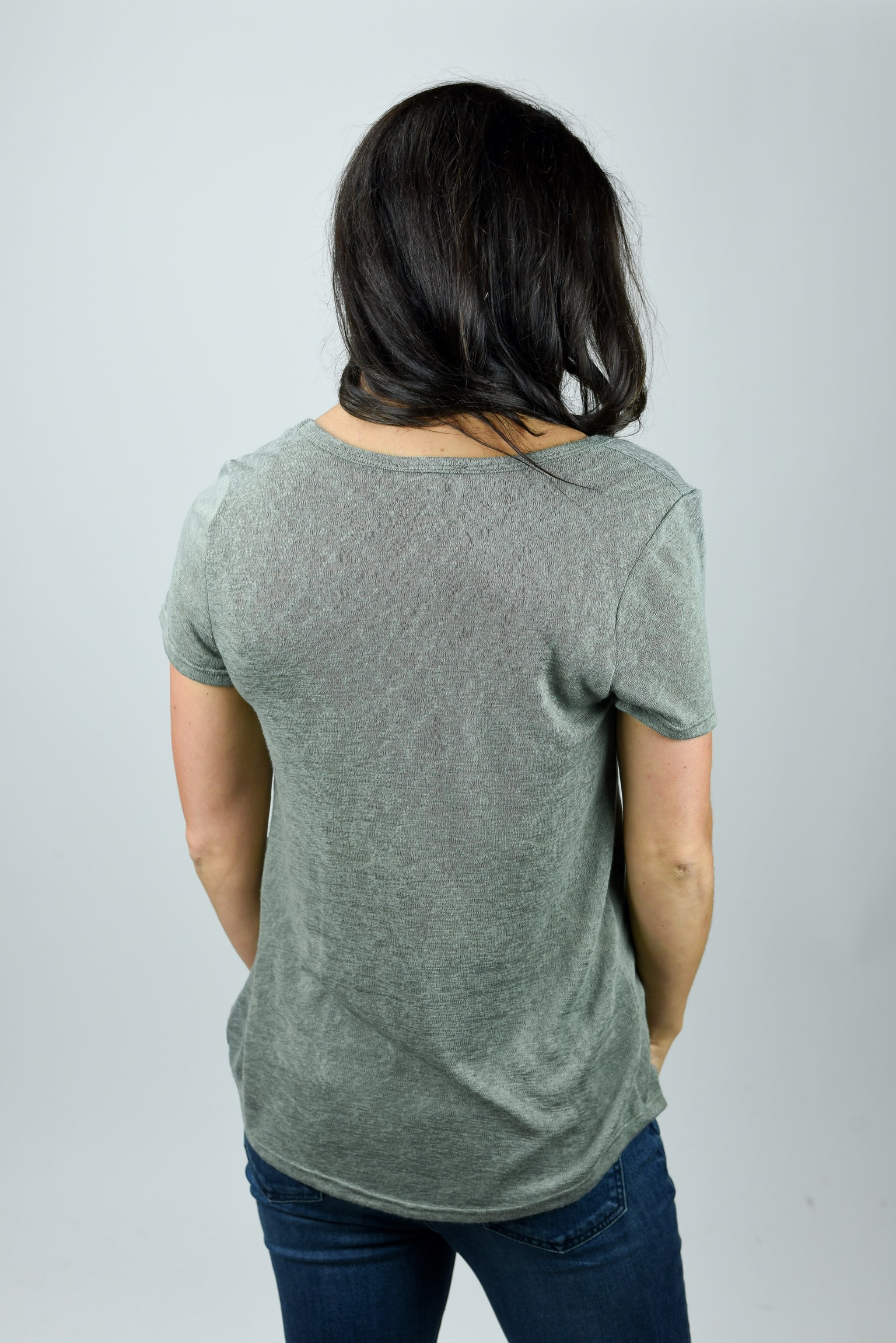 Moving In Slub Scoop Neck Tee- Olive