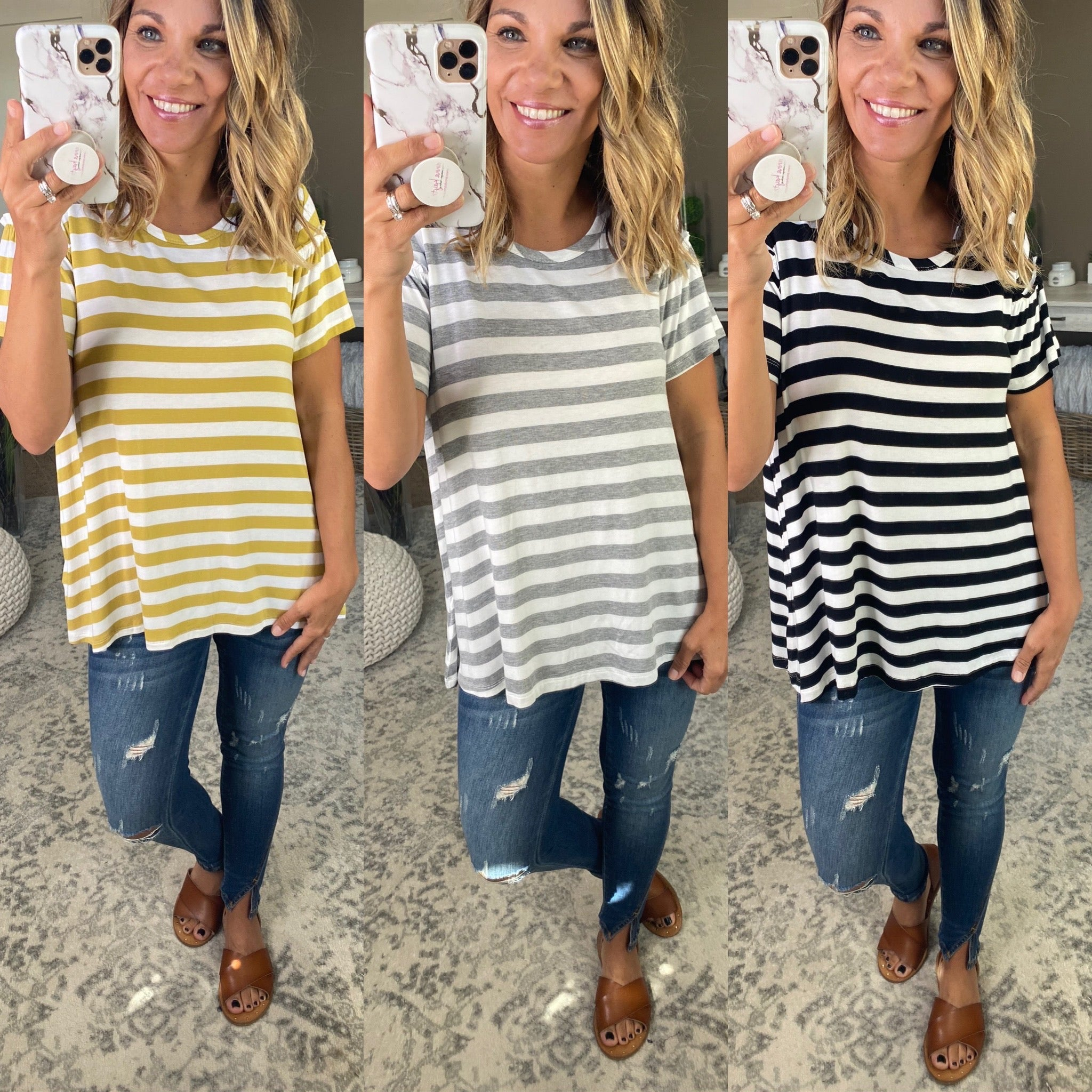 Everything Changes Striped Tee with Ruffle Sleeve Detail- Multiple Options