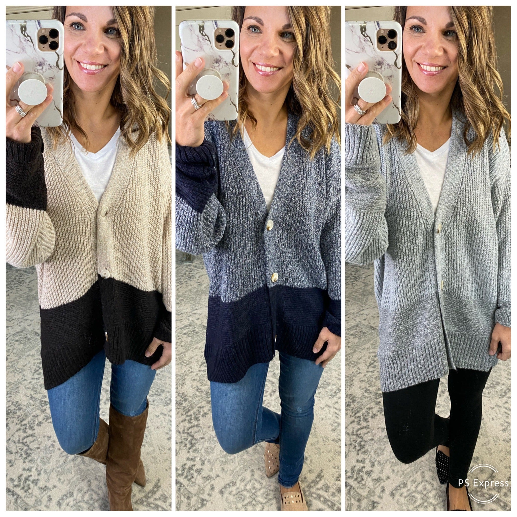Peace on Earth Two Tone Ribbed Knit Cardi with Buttons--Multiple Options
