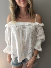 On The Go White Lace Top