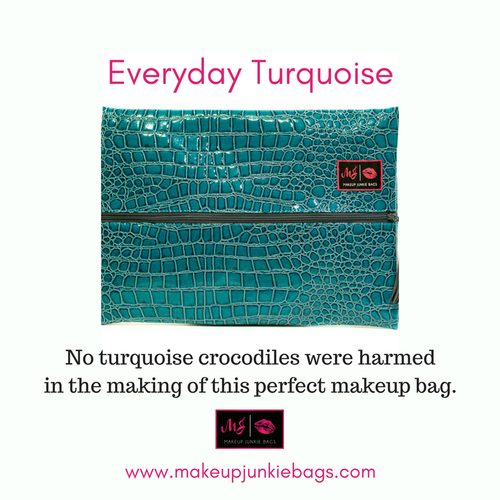 Everyday Turquoise w/ Purple Tassel Makeup Junkie Bag (small)