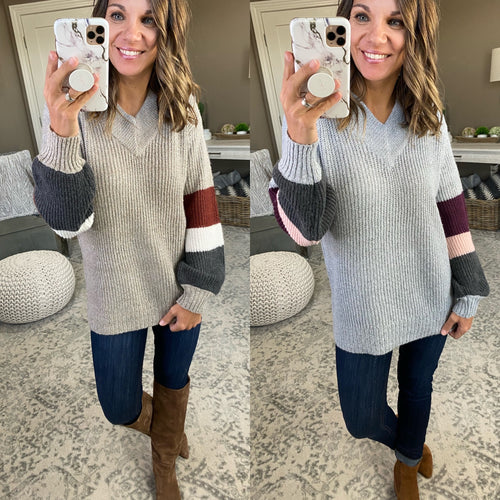 Whispered Your Name Double V-Neck Sweater with Stripe Sleeve- Multiple Options