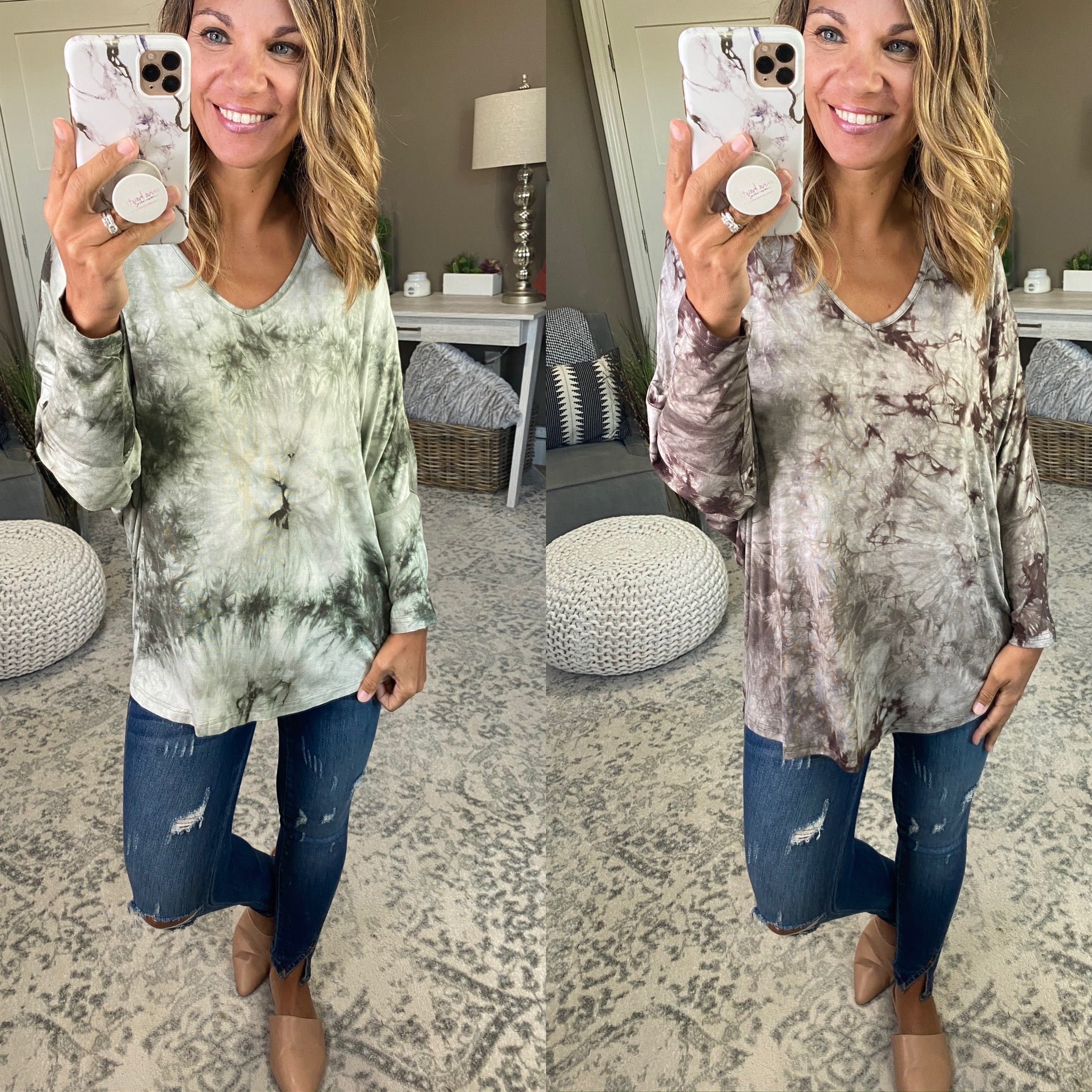 Heard The Story Marbled 3/4 Sleeve Dolman - Multiple Options