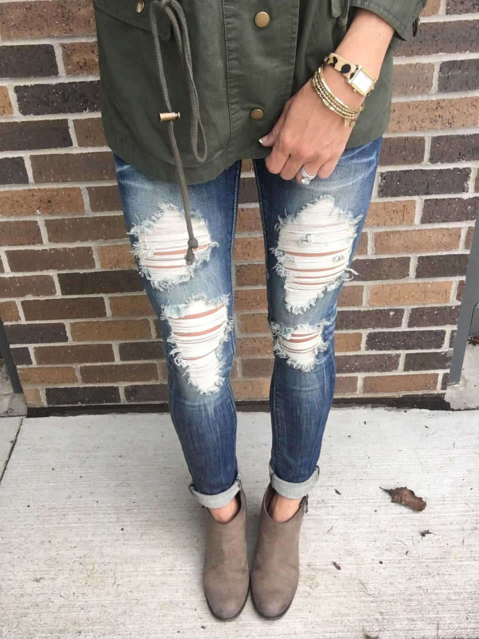 Well Traveled Distressed Skinny Jeans