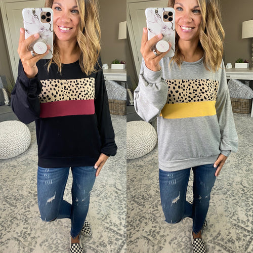 Wildest Dreams Cheetah Colorblock Long Sleeve--Multiple Options