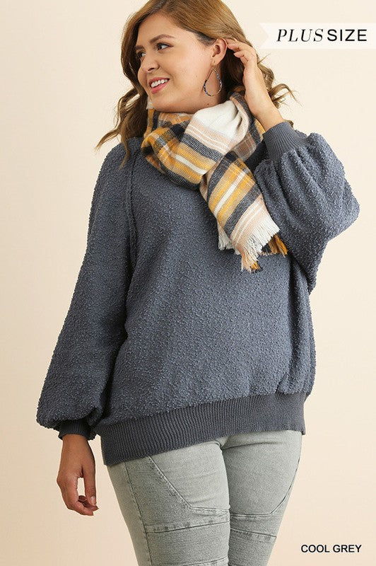 Soul Searching Sweater- Plus Cool Grey