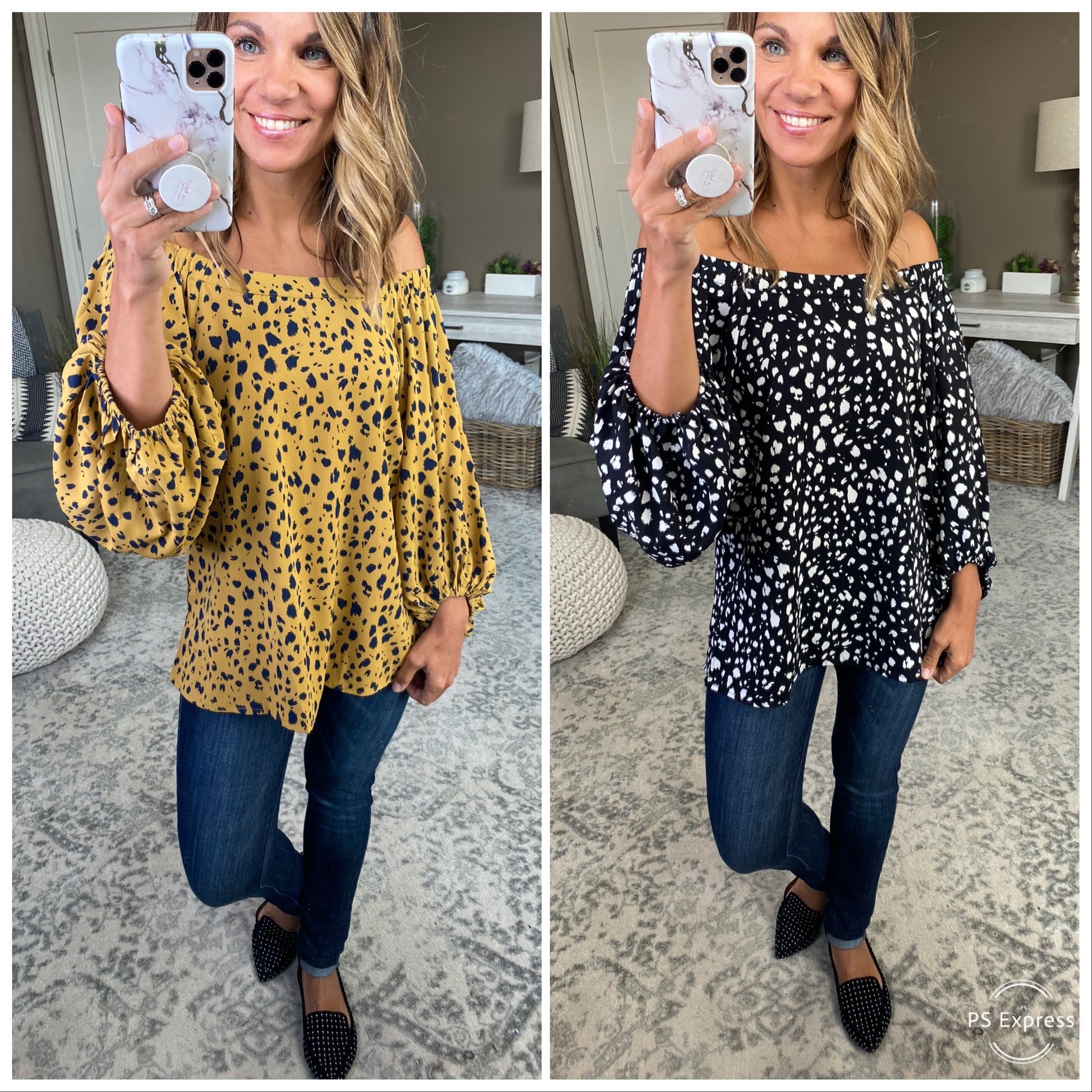 We're Gonna Dance Off Shoulder Blouse with Brush Dots & Balloon Sleeve--Multiple Options