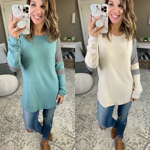 Almost Maybes Long Sleeve with Striped Sleeve - Multiple Options