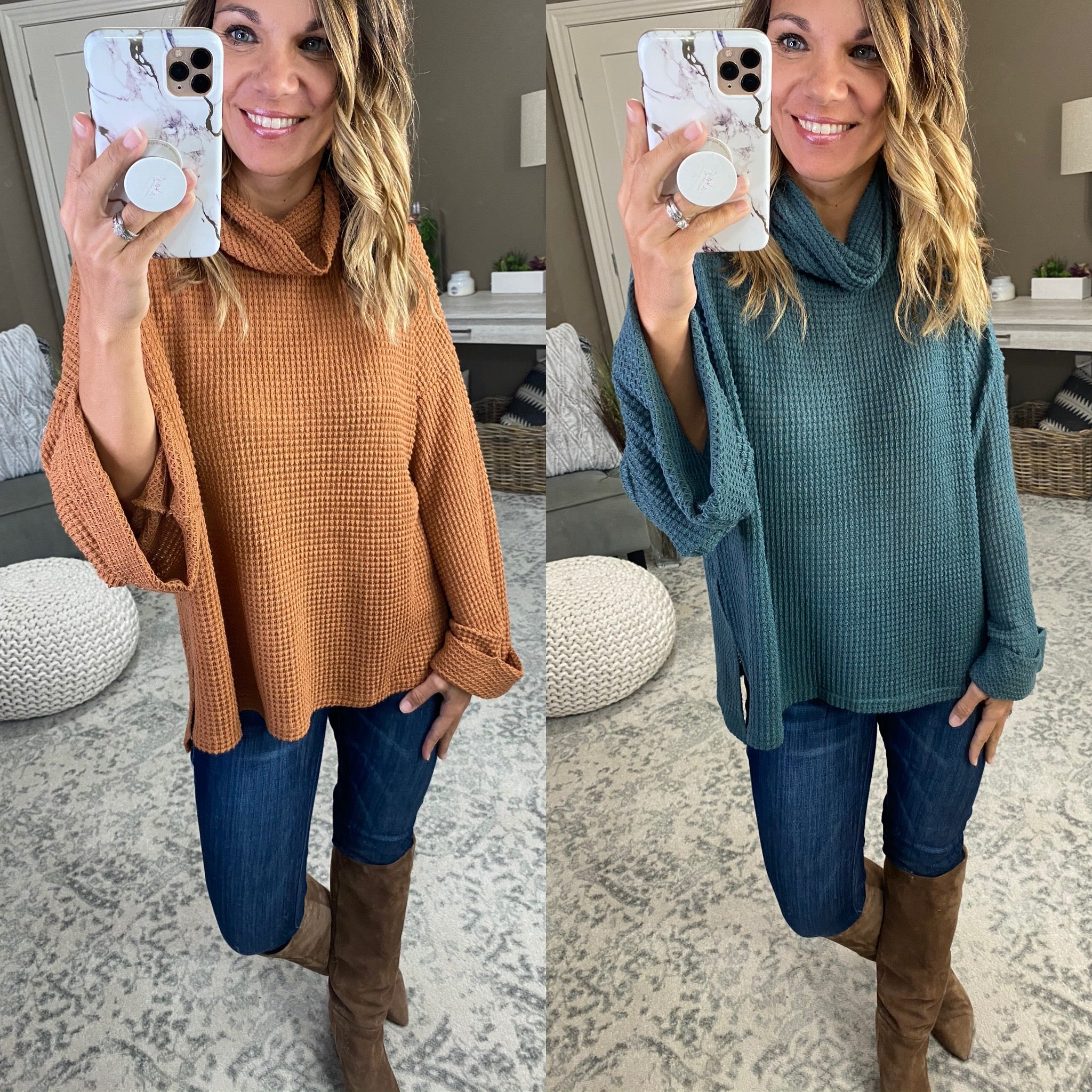 Out Of Love Waffle Cowl Neck with Cuffed Wide Sleeve- Multiple Options
