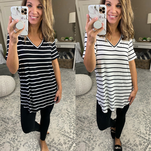Work From Home Striped V Neck Tee- Multiple Options