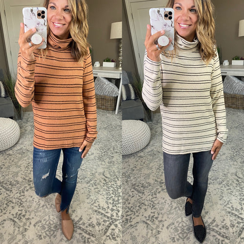 Ever So Effortless Mock Neck Double Stripe Sweater- Multiple Options