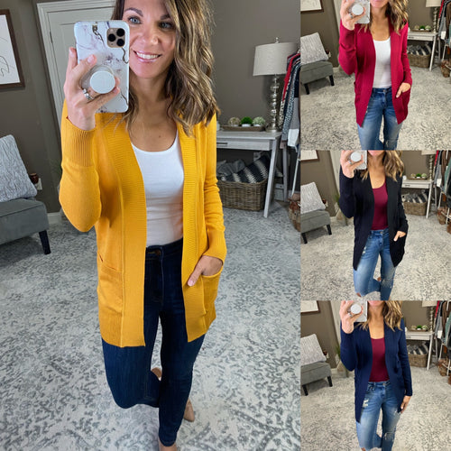Joyful Open Front Banded Cardigan with Pockets- Multiple Options