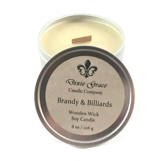 Brandy and Billards 8oz Tin Candle