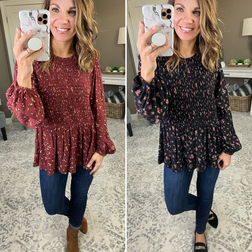 Right Time Floral Peplum Long Sleeve - Multiple Options