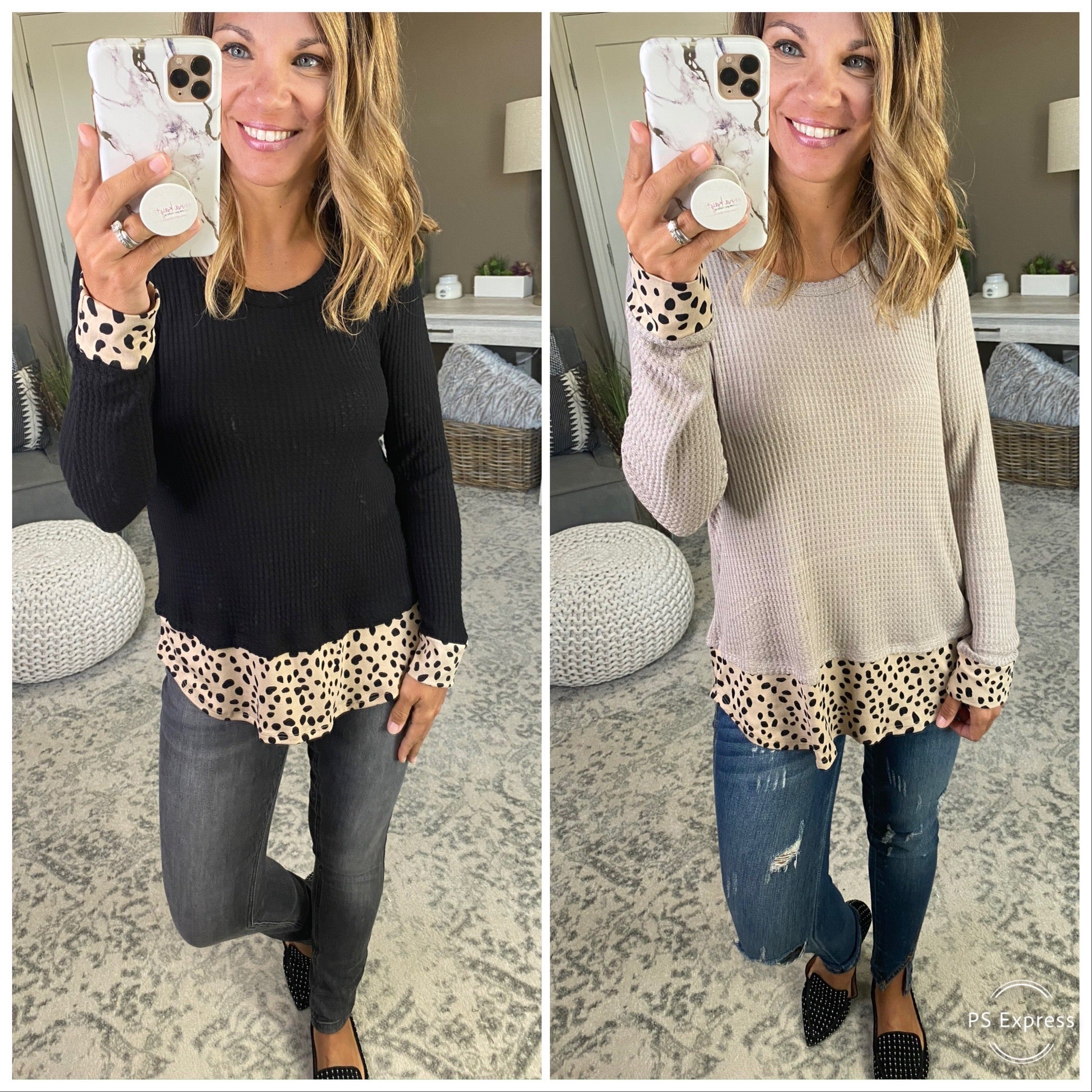 Just That Way Long Sleeve Waffle With Taupe & Black Spot Detailing--Multiple Options