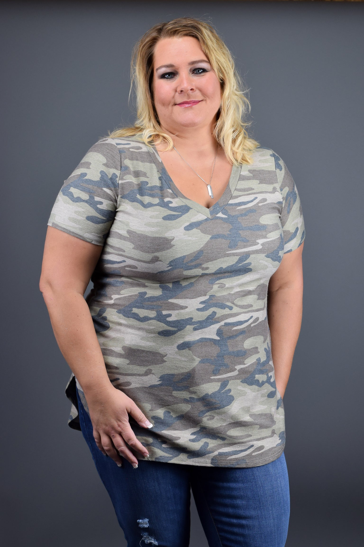Speaking My Mind Camo Vneck Tee - Curvy