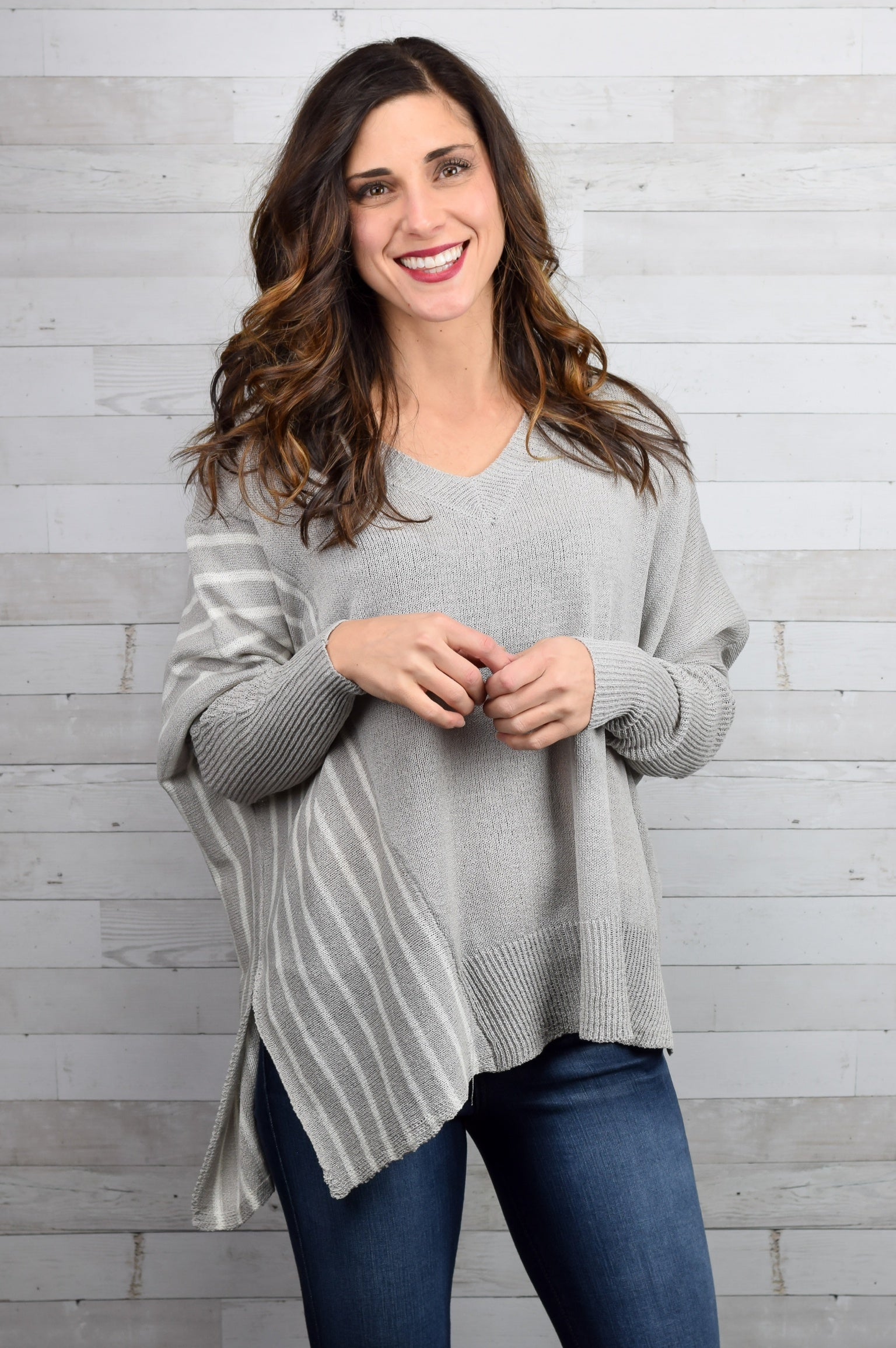 Laid On Back Gray Lightweight Sweater