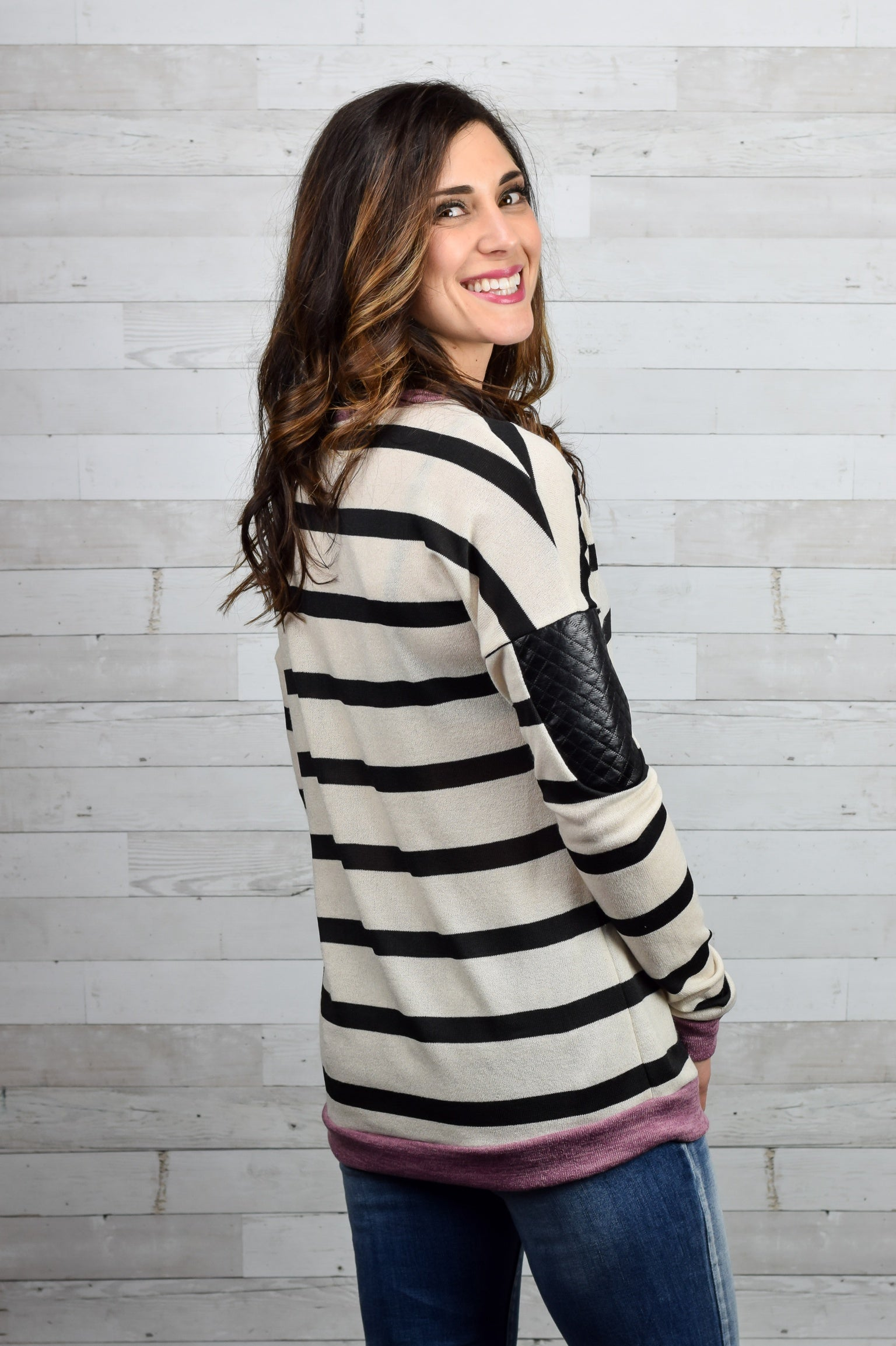 Day Made Stripe faux leather patches Long Sleeve Top