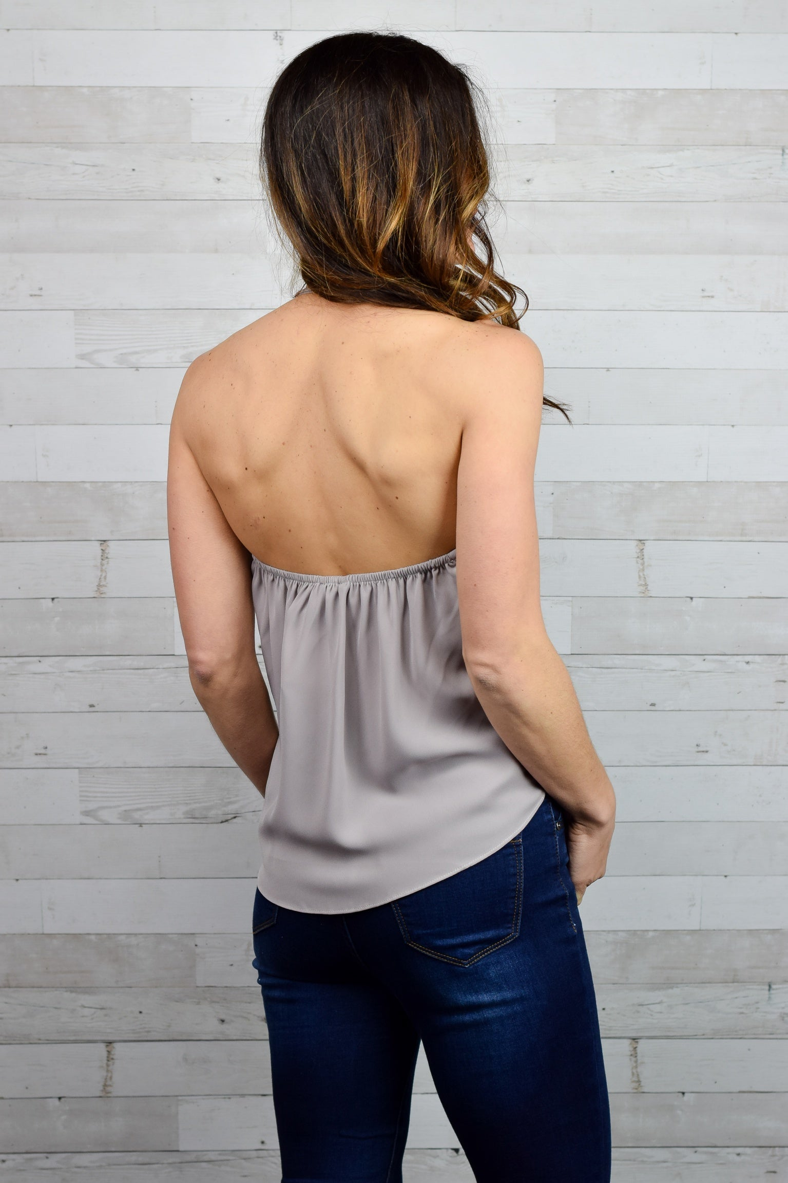 Romantically Yours Halter Top - Grey
