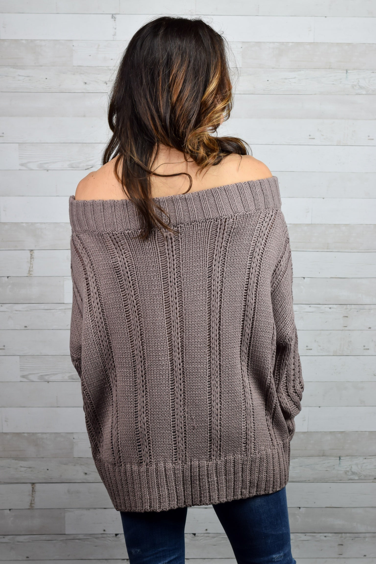 Gave You My Heart Cable Knit Off Shoulder Sweater
