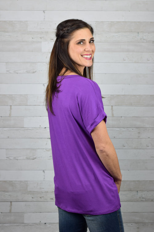 Callie Rolled Sleeve Tee- Orchid