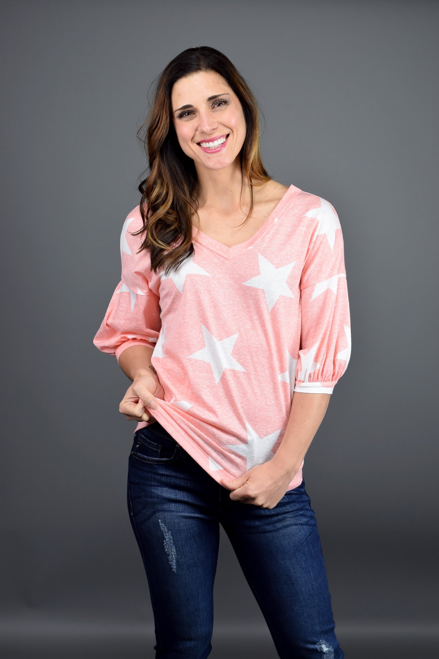 Daylight Stars Salmon V neck Tee