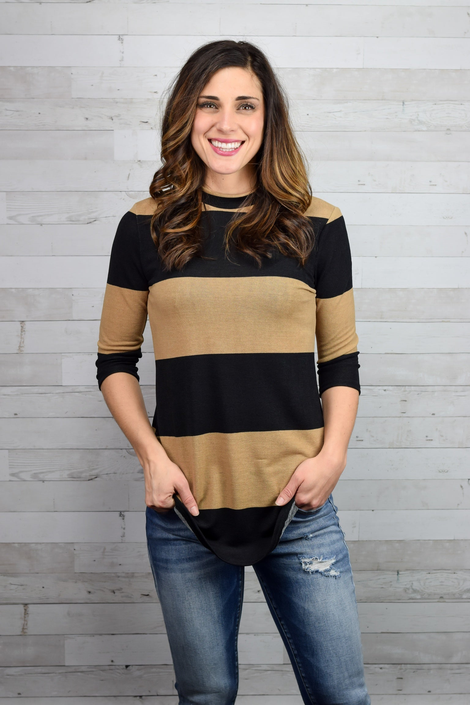 Stand Your Ground Stripe 3/4 Sleeve Top