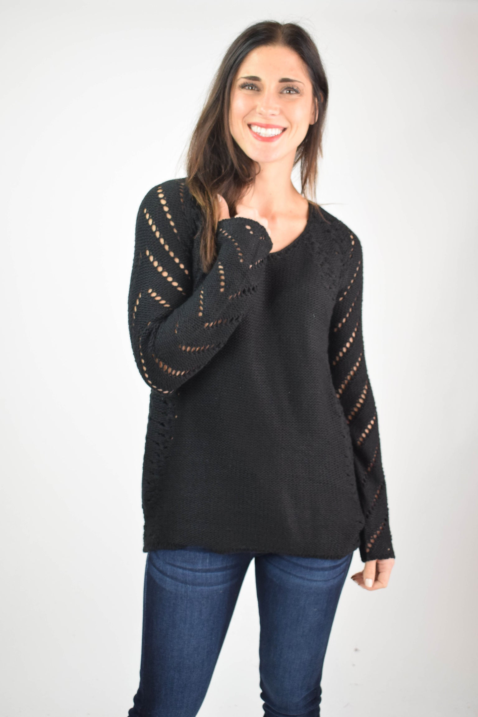 As the Leaves Change Cutout Detail Sweater - Black