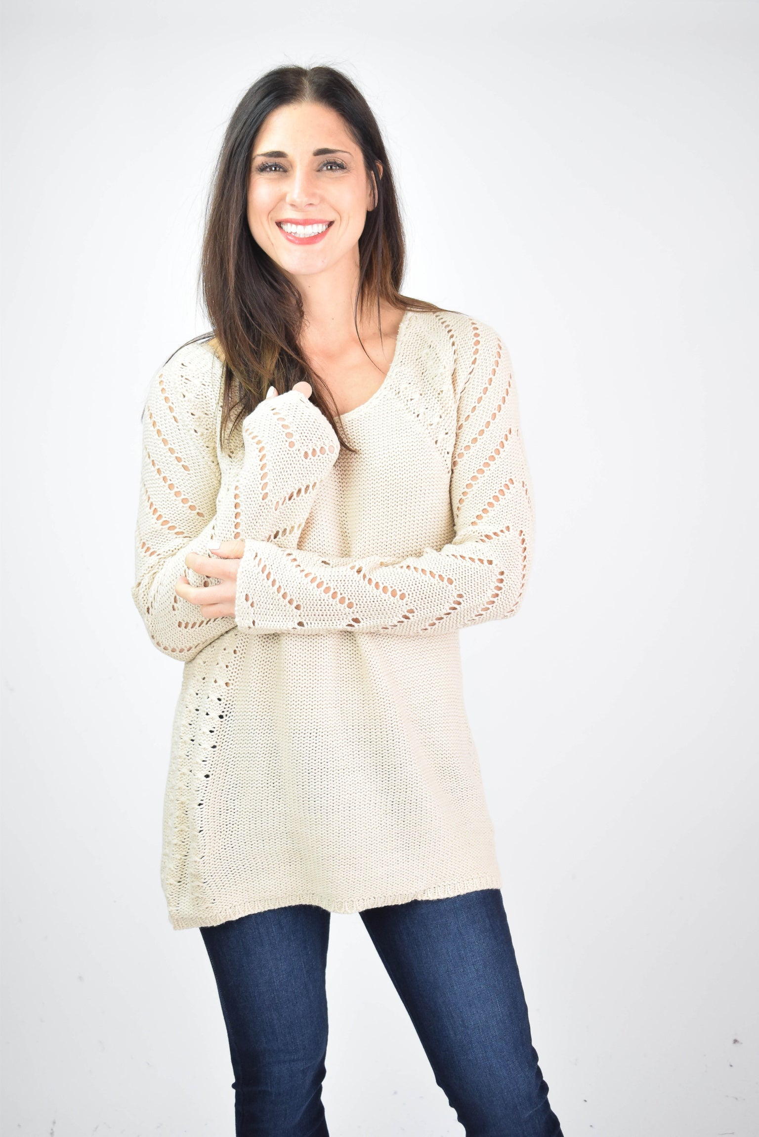 As the Leaves Change Cutout Detail Sweater - Cream