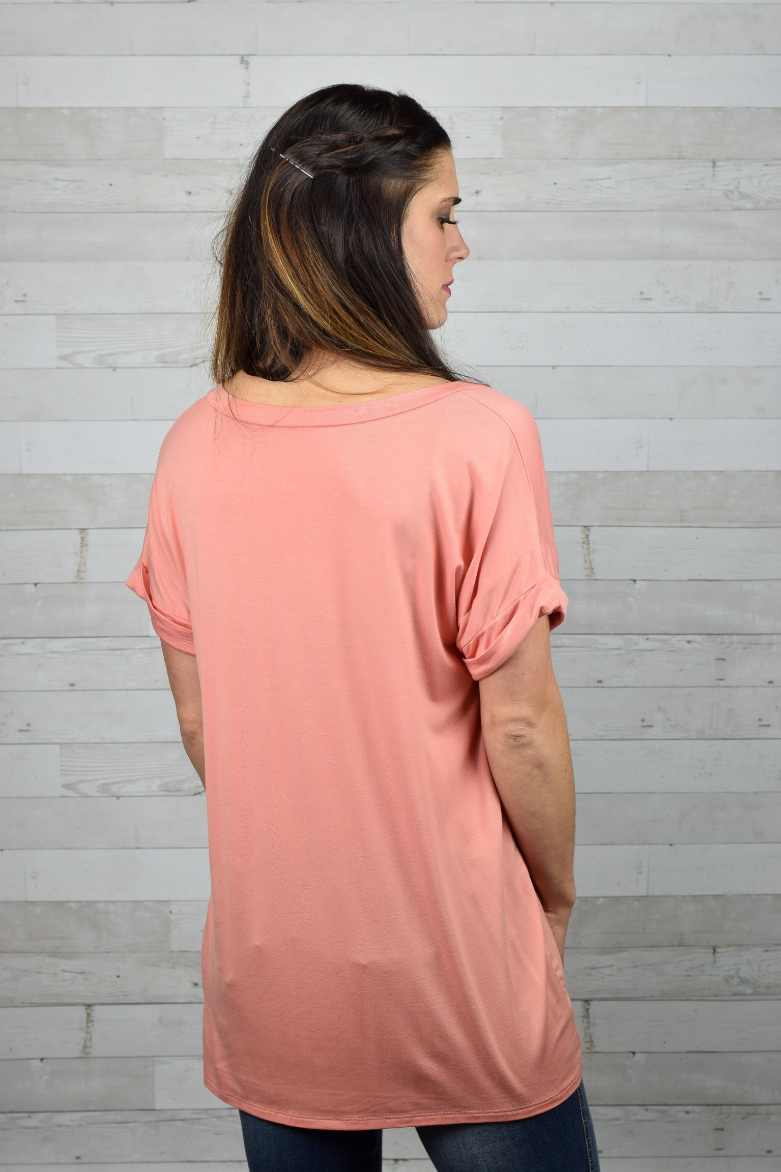 Callie Rolled Sleeve Tee- Salmon