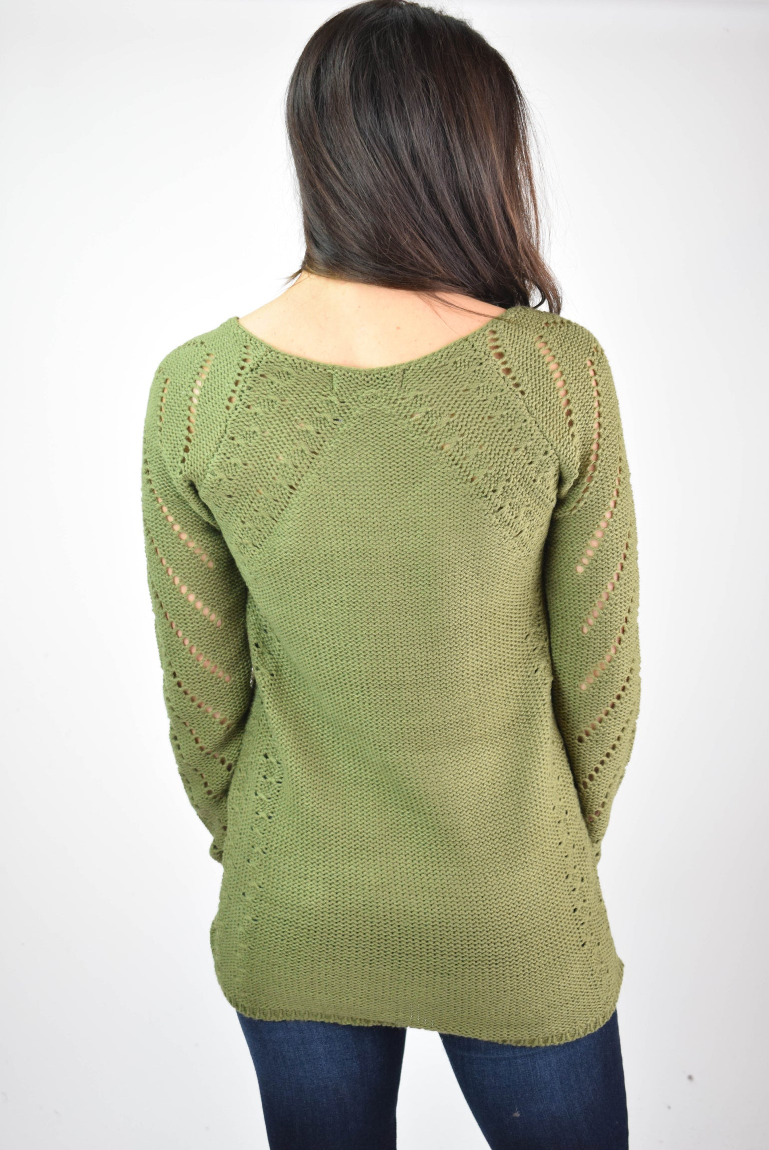 As the Leaves Change Cutout Detail Sweater - Olive
