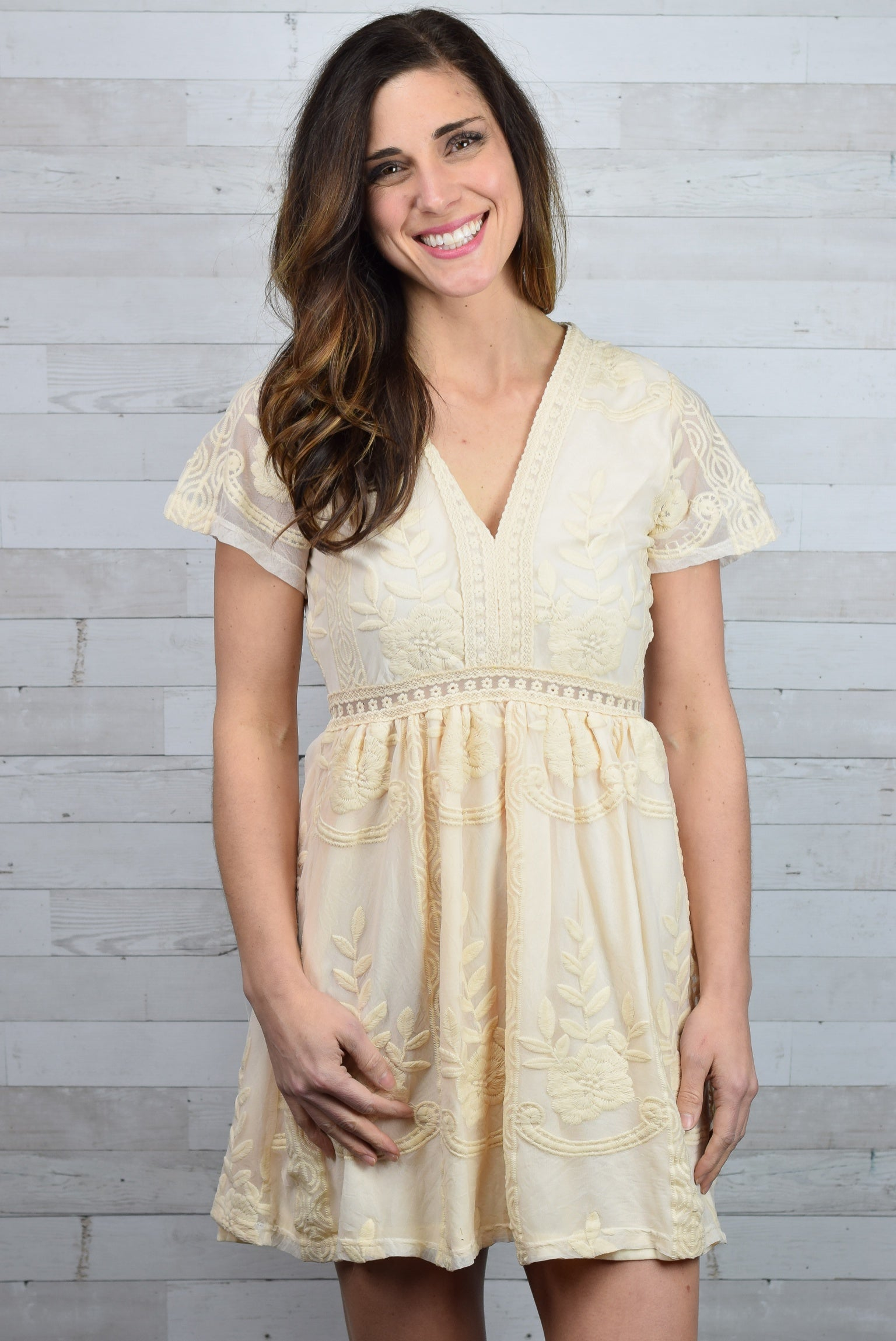 Mi Amor Embroidered Dress - Neutral