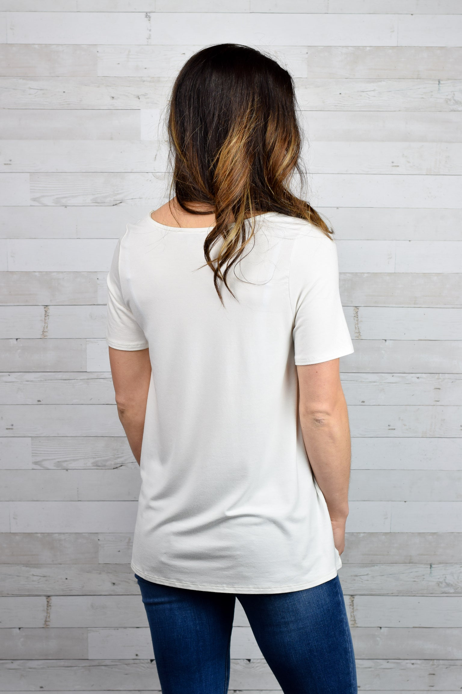 Wanting More Criss Cross Tee- Ivory