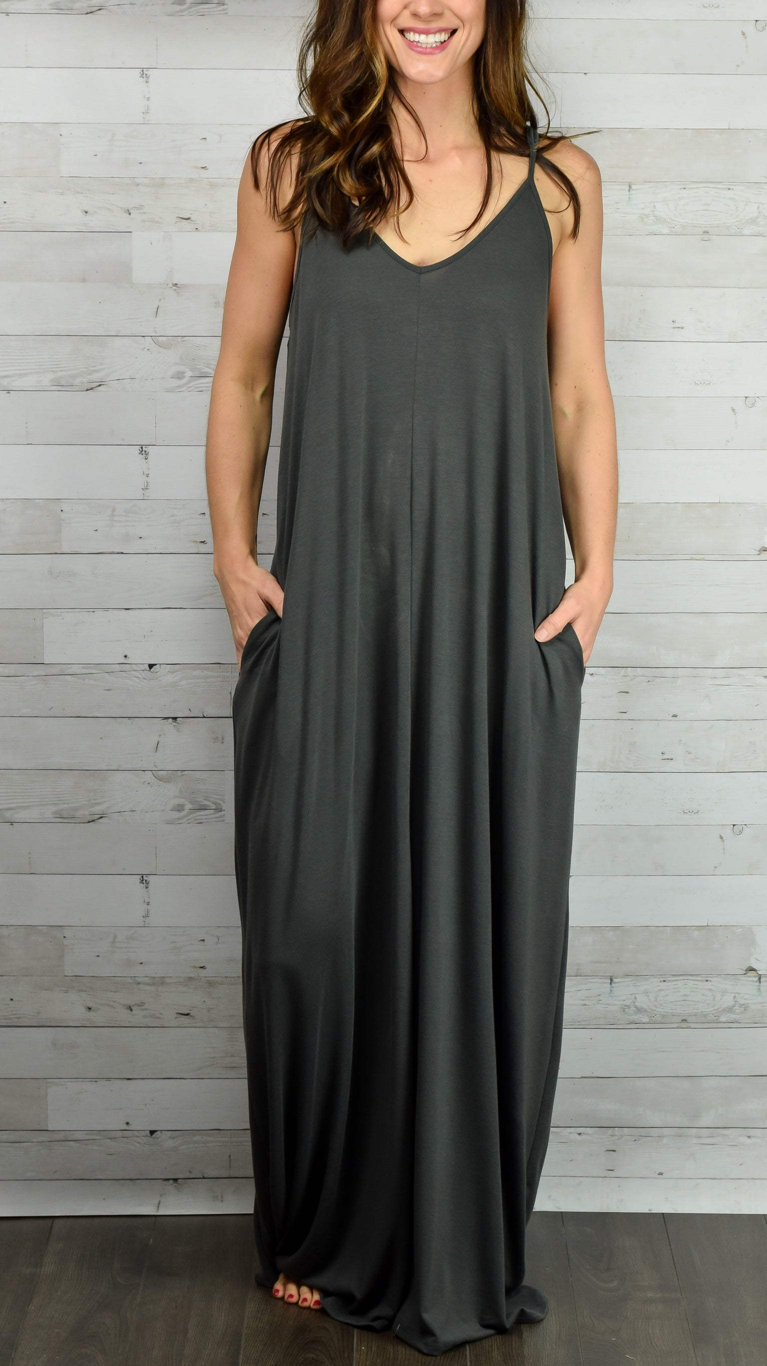 Hello Beautiful Cami Maxi Dress- Charcoal