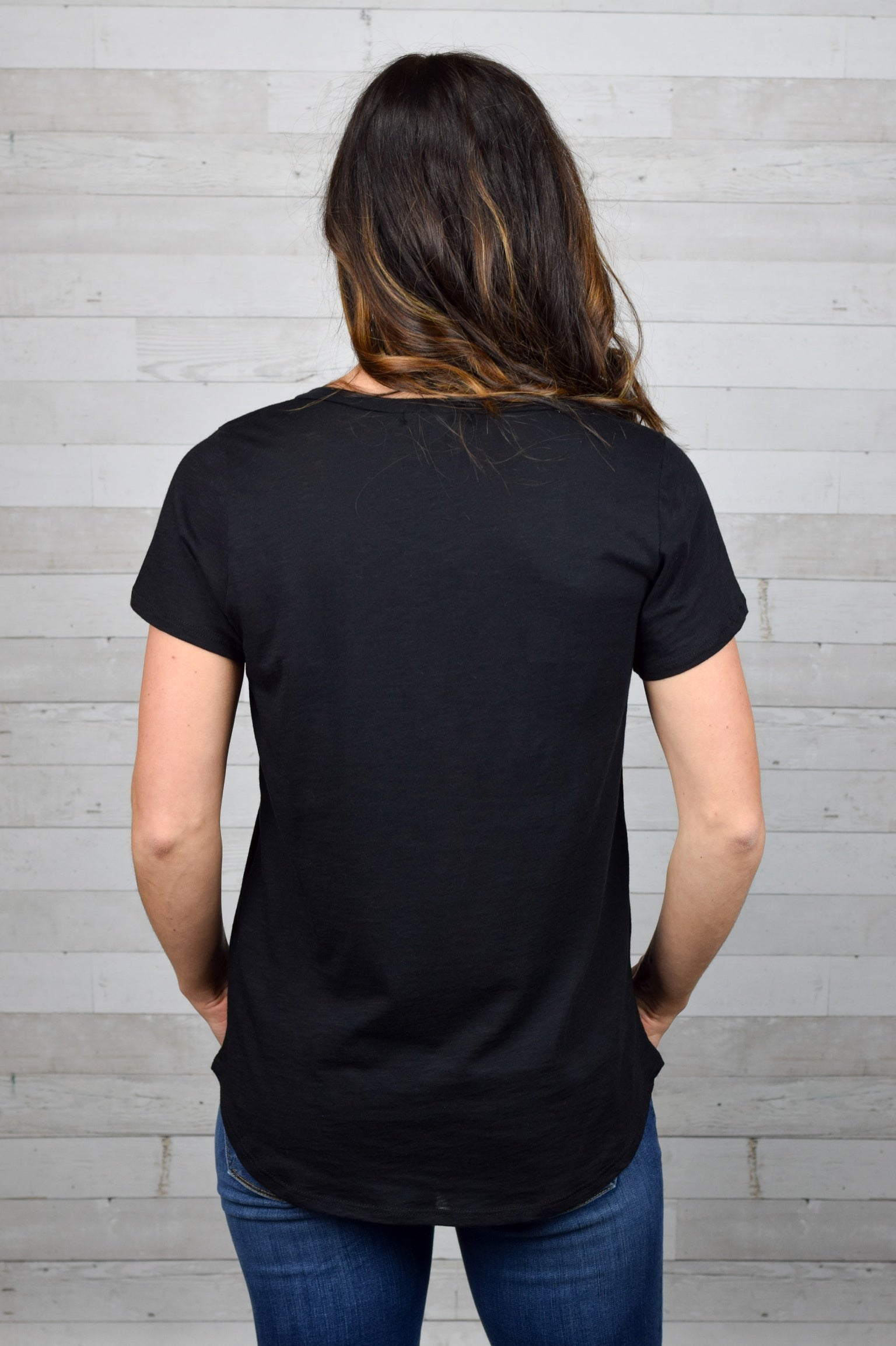 Hey Gina Pocket Tee - Black
