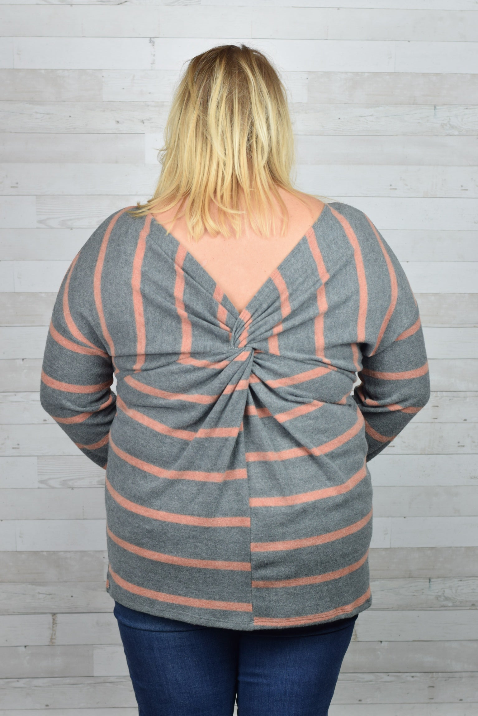 A Sure Bet Back Knot Long Sleeve- Plus