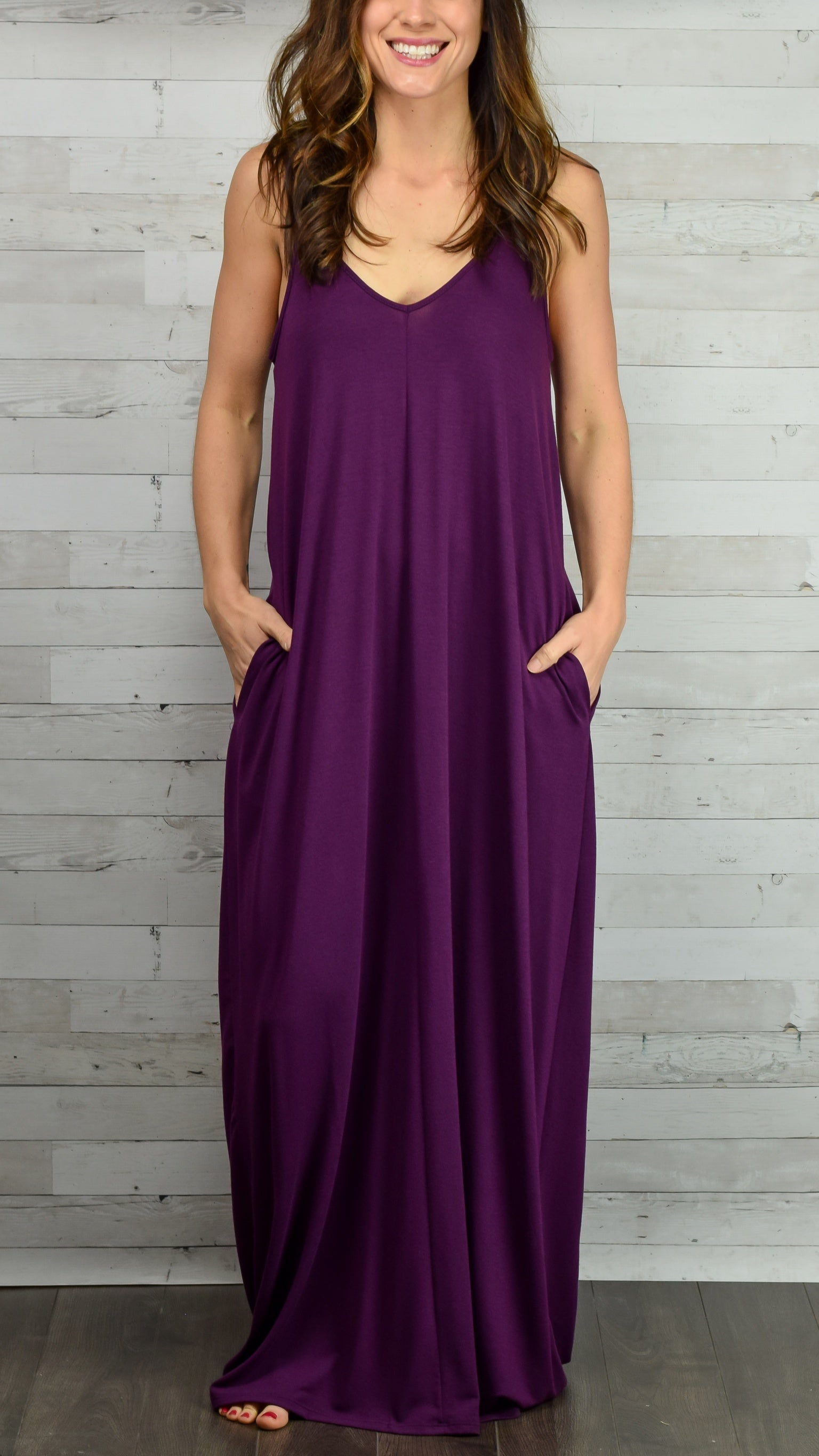 Hello Beautiful Cami Maxi Dress- Plum