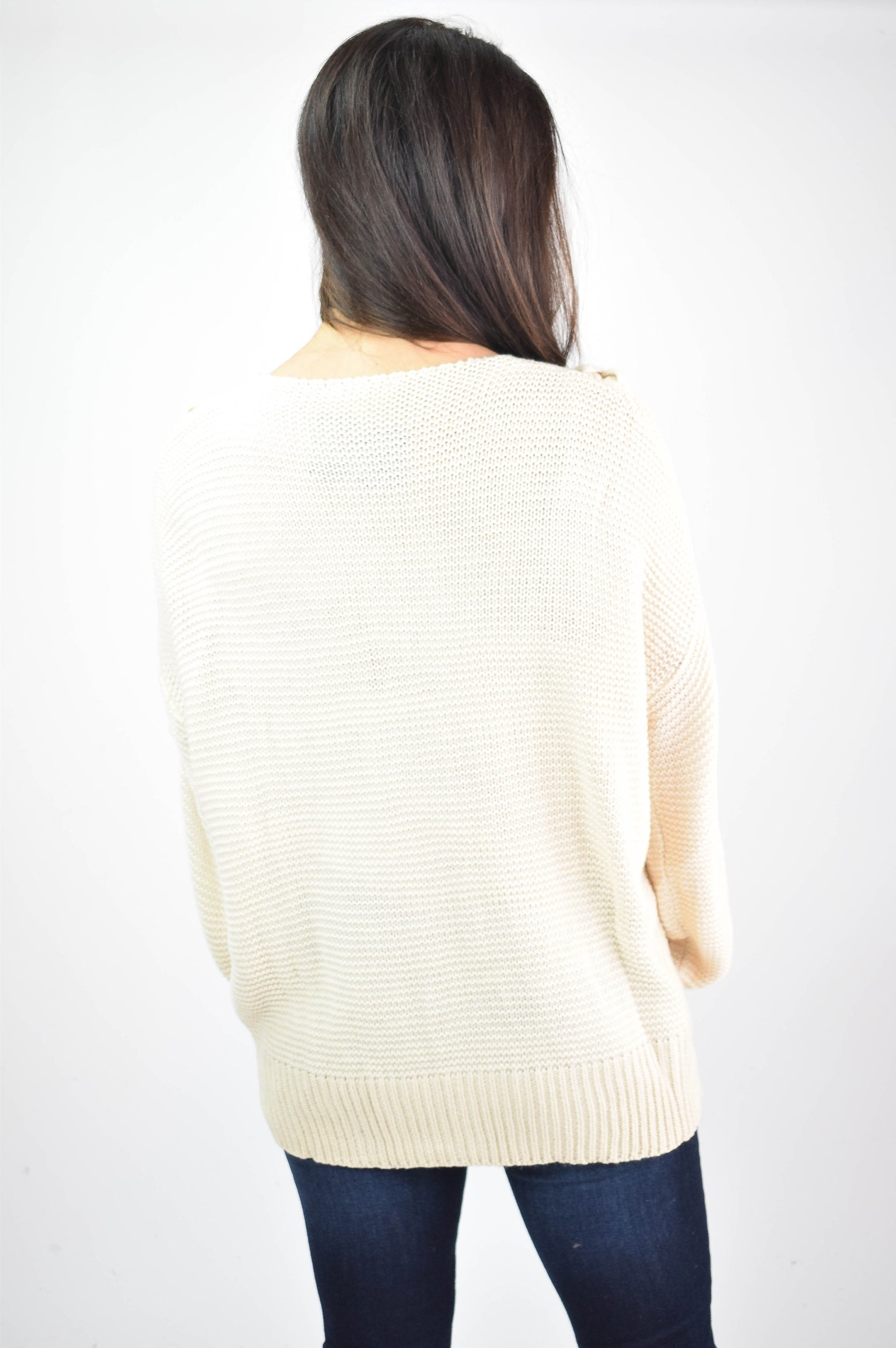 Right On Track Braided VNeck Sweater- Cream