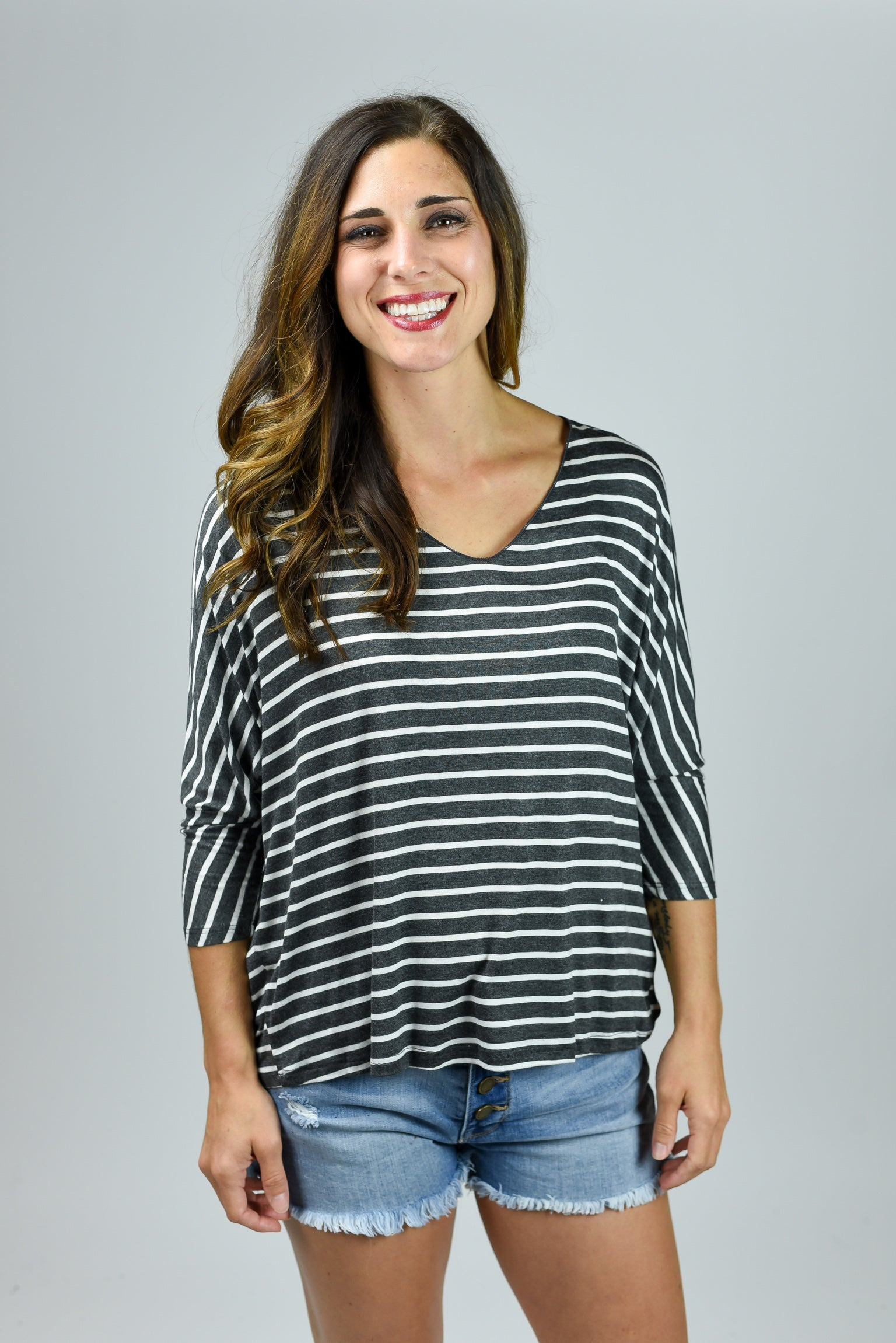 No Better View Charcoal & White Stripe Top