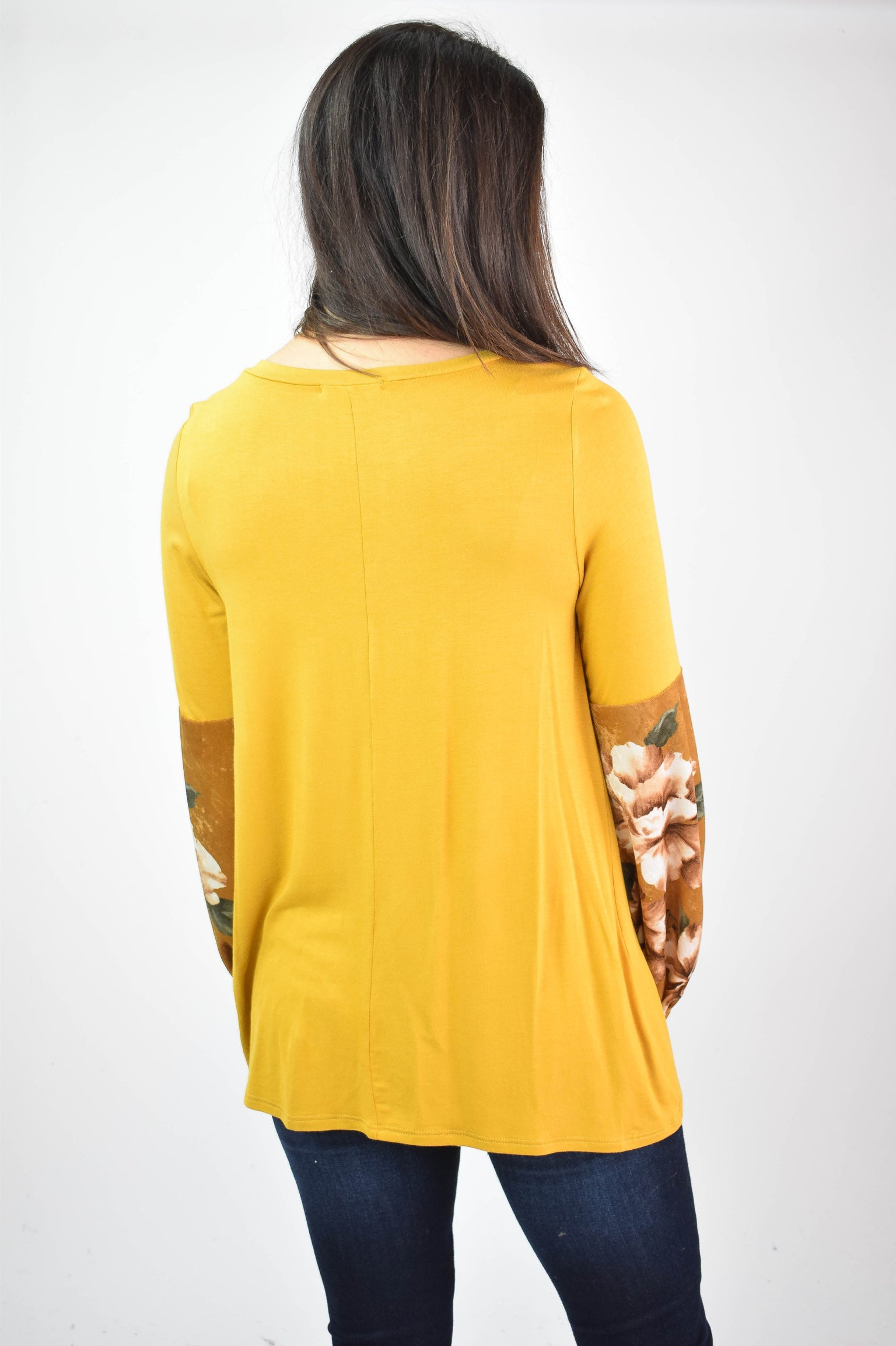 Outskirts Of Town Mustard Floral Velvet Sleeve Top