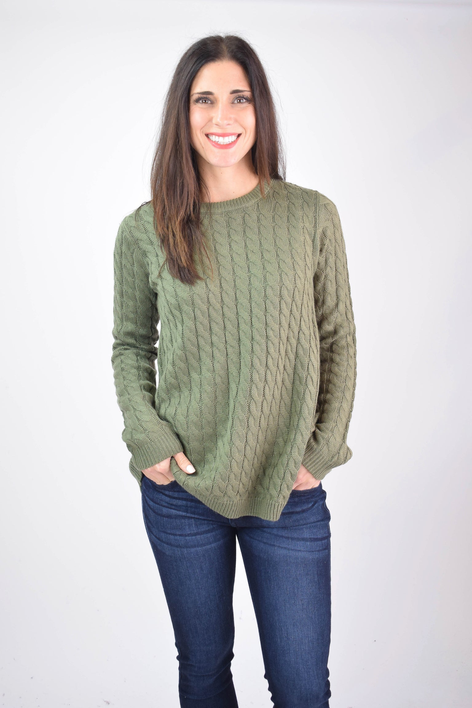 Growing Up Together Braided Sweater- Dusty Olive
