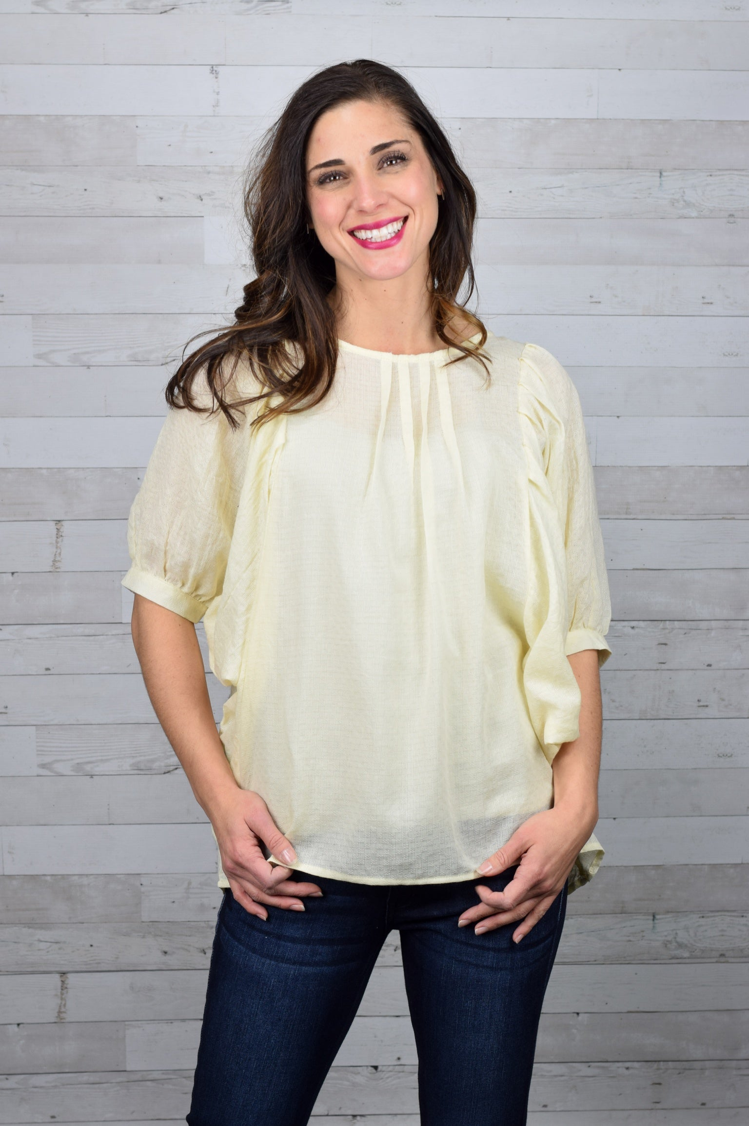 Pleasantly Surprised Woven Dolman Top